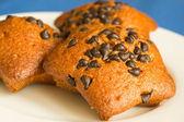 Fruitcakes with chocolate slices — Stock Photo