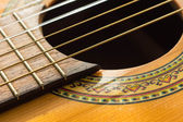 Part of an old acoustic guitar close up — Stock Photo