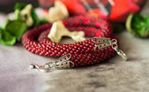 Necklace from red beads close up — Stock Photo