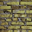 Rustic yellow-green brick wall background — Stock Photo