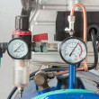 Stock Photo: Pressure gauge and air filter regulator