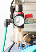 Pressure gauge and air filter regulator — Stock Photo