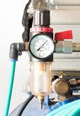 Pressure gauge and air filter regulator — Stock Photo