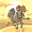 Bedouin rides in desert — Vector de stock #32248553
