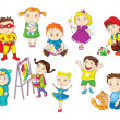Smiling and happy toddlers doing different activities — Stock Vector