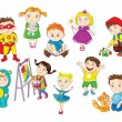 Stock Vector: Smiling and happy toddlers doing different activities