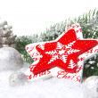 Christmas decoration red and white — Stock Photo