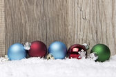Christmas ornament red, blue and green — Stock Photo