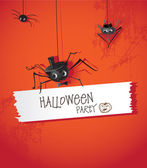 Halloween spider in a hat and tie — Stock Vector