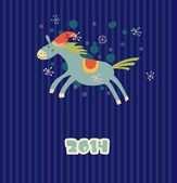 Funny Christmas horse — Vector de stock