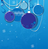 Blue winter background with Christmas balls — Stock Vector