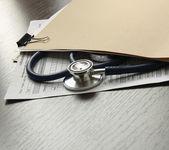 Stethoscope on medical billing — Stock Photo