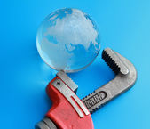Isolated caliper with earth — Stock Photo