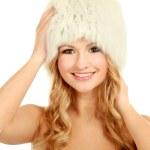 Model girl in a fur hat — Stock Photo