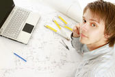 A young architect at his workplace — Stock Photo