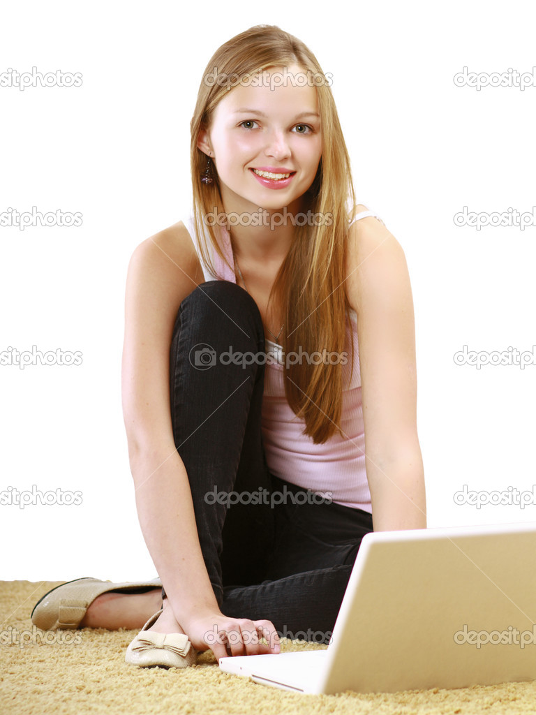 Woman Sitting On The Floor Against The Wall With A Laptop Stock Photo Shefkate 33872009