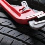 Wheel and Tools — Stock Photo #34854403