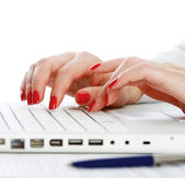 Female hands working on a laptop — Stockfoto