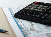 Calculator, pen with documents — Stock Photo