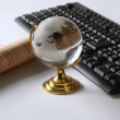 Stock Photo: Background with laptop and globe