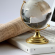 Background with laptop and globe — Stock Photo #35026849
