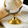 Background with laptop and globe — Stock Photo #35040175