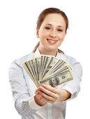 Young businesswoman holding dollar — Stock Photo