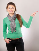 Young woman showing something — Stock Photo
