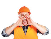 A young worker shouting — Stock Photo