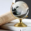 Stock Photo: Background with laptop and globe.