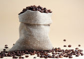 Coffee beans in the sack — Stock Photo