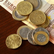 Money: euro coins and bills — Foto de Stock