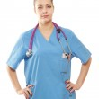 Closeup portrait of a young female doctor — Foto Stock