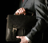 Successful business man with bag — Foto Stock