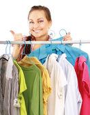 Beautiful women shopping for some clothes — Foto de Stock