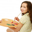 A young girl with a palette — Stock Photo