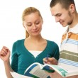 Young college boy and girl i — Stock Photo