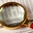 Looking through magnifying glass to financial report — Lizenzfreies Foto