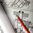 Stock Photo: Electrical drawing of house