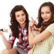 Young girls painting — Stock Photo