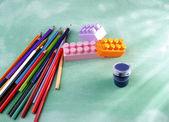 Pencils, toy building blocks and paint — Foto de Stock