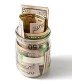Peníze v lahvi — Stock fotografie