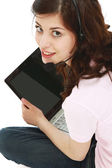 Young girl with a laptop — Stock Photo