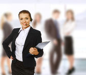 A friendly customer service girl — Stock Photo