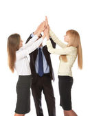 Closeup portrait of business people giving high five — Stock Photo