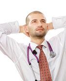 Mužský doktor na jeho pracovišti — Stock fotografie