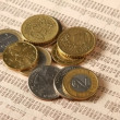 Stock Photo: Money: euro coins and bills close up.