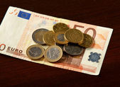Money: euro coins and bills close up — Stock Photo