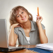 A woman working at the desk — Stock Photo #39221205