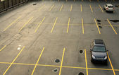 Aerial view of a parking lot with cars — Stock Photo